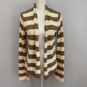 AEO   Brown & Cream Striped Open Front Cardigan
